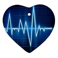 Heart Monitoring Rate Line Waves Wave Chevron Blue Heart Ornament (Two Sides)