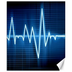Heart Monitoring Rate Line Waves Wave Chevron Blue Canvas 8  x 10