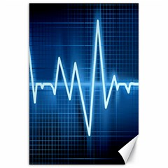 Heart Monitoring Rate Line Waves Wave Chevron Blue Canvas 20  x 30
