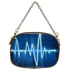 Heart Monitoring Rate Line Waves Wave Chevron Blue Chain Purses (Two Sides)