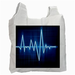 Heart Monitoring Rate Line Waves Wave Chevron Blue Recycle Bag (one Side)