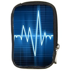 Heart Monitoring Rate Line Waves Wave Chevron Blue Compact Camera Cases