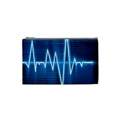 Heart Monitoring Rate Line Waves Wave Chevron Blue Cosmetic Bag (small)