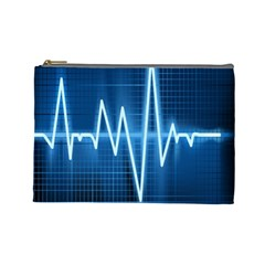 Heart Monitoring Rate Line Waves Wave Chevron Blue Cosmetic Bag (Large)