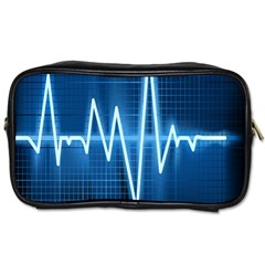 Heart Monitoring Rate Line Waves Wave Chevron Blue Toiletries Bags