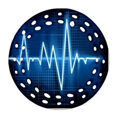 Heart Monitoring Rate Line Waves Wave Chevron Blue Round Filigree Ornament (Two Sides)