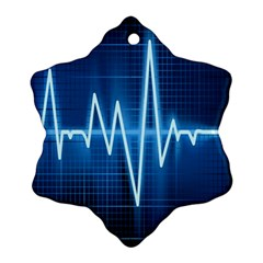 Heart Monitoring Rate Line Waves Wave Chevron Blue Snowflake Ornament (Two Sides)