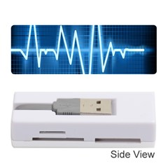 Heart Monitoring Rate Line Waves Wave Chevron Blue Memory Card Reader (Stick)