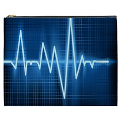 Heart Monitoring Rate Line Waves Wave Chevron Blue Cosmetic Bag (XXXL)