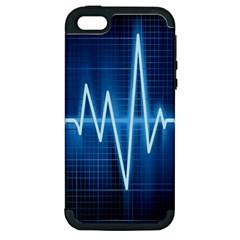 Heart Monitoring Rate Line Waves Wave Chevron Blue Apple iPhone 5 Hardshell Case (PC+Silicone)