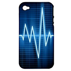 Heart Monitoring Rate Line Waves Wave Chevron Blue Apple iPhone 4/4S Hardshell Case (PC+Silicone)