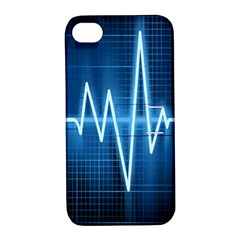 Heart Monitoring Rate Line Waves Wave Chevron Blue Apple iPhone 4/4S Hardshell Case with Stand