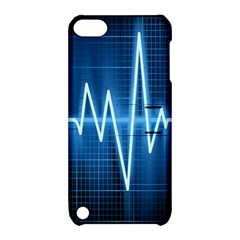 Heart Monitoring Rate Line Waves Wave Chevron Blue Apple iPod Touch 5 Hardshell Case with Stand