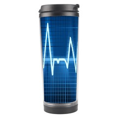 Heart Monitoring Rate Line Waves Wave Chevron Blue Travel Tumbler