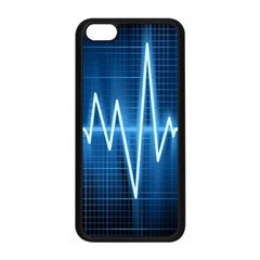 Heart Monitoring Rate Line Waves Wave Chevron Blue Apple iPhone 5C Seamless Case (Black)