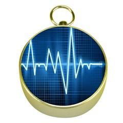 Heart Monitoring Rate Line Waves Wave Chevron Blue Gold Compasses