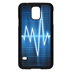 Heart Monitoring Rate Line Waves Wave Chevron Blue Samsung Galaxy S5 Case (Black)