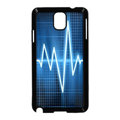 Heart Monitoring Rate Line Waves Wave Chevron Blue Samsung Galaxy Note 3 Neo Hardshell Case (Black)