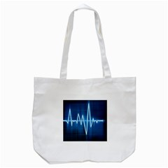 Heart Monitoring Rate Line Waves Wave Chevron Blue Tote Bag (White)