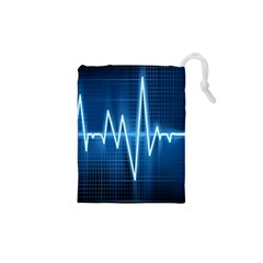 Heart Monitoring Rate Line Waves Wave Chevron Blue Drawstring Pouches (XS)