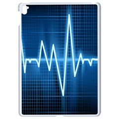 Heart Monitoring Rate Line Waves Wave Chevron Blue Apple Ipad Pro 9 7   White Seamless Case