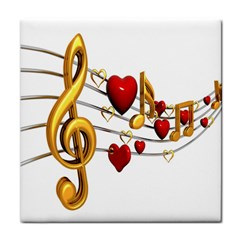 Music Notes Heart Beat Tile Coasters