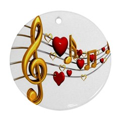 Music Notes Heart Beat Ornament (Round)