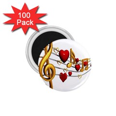 Music Notes Heart Beat 1.75  Magnets (100 pack)