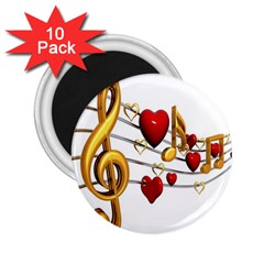 Music Notes Heart Beat 2.25  Magnets (10 pack)