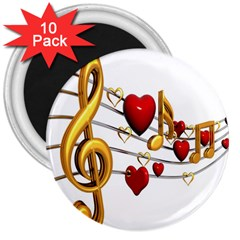 Music Notes Heart Beat 3  Magnets (10 pack)
