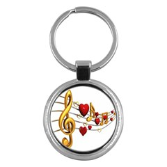 Music Notes Heart Beat Key Chains (Round)