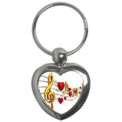 Music Notes Heart Beat Key Chains (Heart)