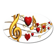 Music Notes Heart Beat Oval Magnet
