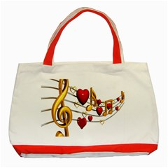 Music Notes Heart Beat Classic Tote Bag (Red)