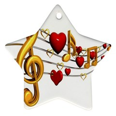 Music Notes Heart Beat Star Ornament (Two Sides)
