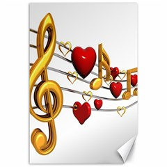 Music Notes Heart Beat Canvas 24  x 36