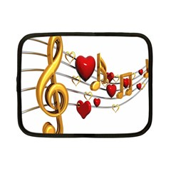 Music Notes Heart Beat Netbook Case (Small)