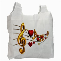 Music Notes Heart Beat Recycle Bag (One Side)