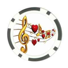 Music Notes Heart Beat Poker Chip Card Guard (10 pack)
