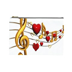 Music Notes Heart Beat Cosmetic Bag (Large)