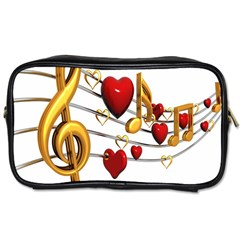 Music Notes Heart Beat Toiletries Bags 2-Side
