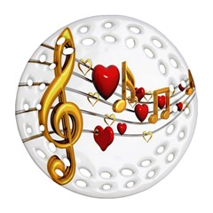 Music Notes Heart Beat Round Filigree Ornament (Two Sides)