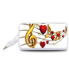 Music Notes Heart Beat Portable Speaker (White)