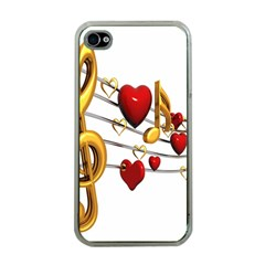 Music Notes Heart Beat Apple iPhone 4 Case (Clear)