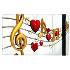 Music Notes Heart Beat Apple Ipad 3/4 Flip Case