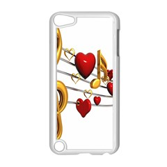 Music Notes Heart Beat Apple iPod Touch 5 Case (White)