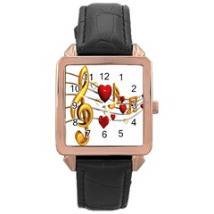 Music Notes Heart Beat Rose Gold Leather Watch