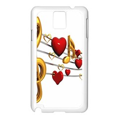 Music Notes Heart Beat Samsung Galaxy Note 3 N9005 Case (white)
