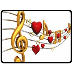 Music Notes Heart Beat Double Sided Fleece Blanket (Large)
