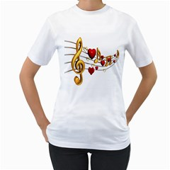Music Notes Heart Beat Women s T-Shirt (White)
